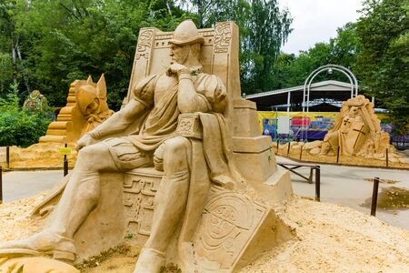 Sokolniki, MOSCOW, RUSSIA - August 2, 2015: From time immemorial. Russian exhibition of sand sculptures. Composition Conquistador Author Alexander Zhidkov Editorial