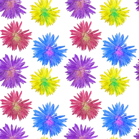 Aster. Texture of flowers. Seamless pattern for continuous replicate. Floral background, photo collage for production of textile, cotton fabric. For use in wallpaper, covers