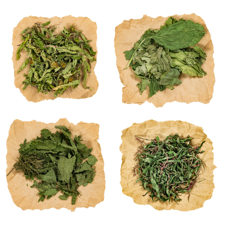 Set of healing herbs. Dried grass for use in alternative medicine, spa, herbal cosmetics, herbal medicine, preparing infusions, decoctions, tinctures, powders, ointments, butter, tea, bath. Stock Photo