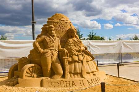 "KOLOMENSKOYE,MOSCOW, RUSSIA-AUGUST 2, 2015:""Masterpieces of world literature"". Exhibition of sand sculptures.""War and peace"", Leo Tolstoy. Author Konstantin Kosarin, Russia. Editorial"