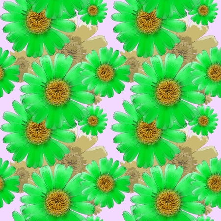 calendula: Marigold, calendula officinalis. Texture of flowers. Seamless pattern for continuous replicate. Floral background, photo collage for production of textile, cotton fabric. For use in wallpaper, covers