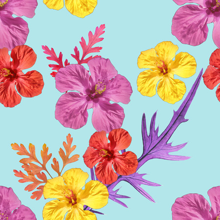 replicate: Hibiscus. Texture of flowers. Seamless pattern for continuous replicate. Floral background, photo collage for production of textile, cotton fabric. For use in wallpaper, covers