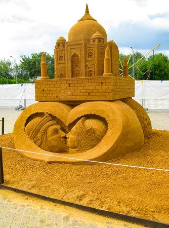 KOLOMENSKOYE, MOSCOW, RUSSIA - MAY 25, 2009: World Championship of Sand Sculpture GREAT ACHIEVEMENTS OF HUMANITY. Taj-Mahal symbol of love shah Jahal to his wife  Mahal. Sudarsan Patnaik. India Editorial