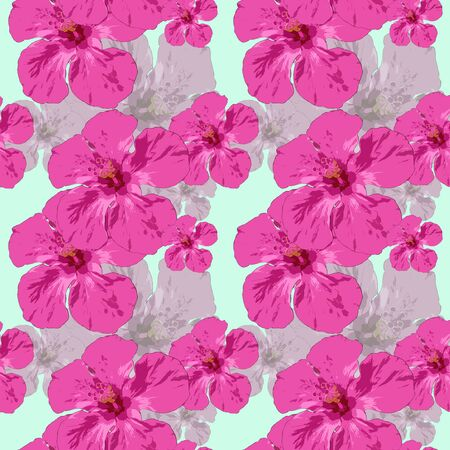 Hibiscus. Texture of flowers. Seamless pattern for continuous replicate. Floral background, photo collage for production of textile, cotton fabric. For use in wallpaper, covers