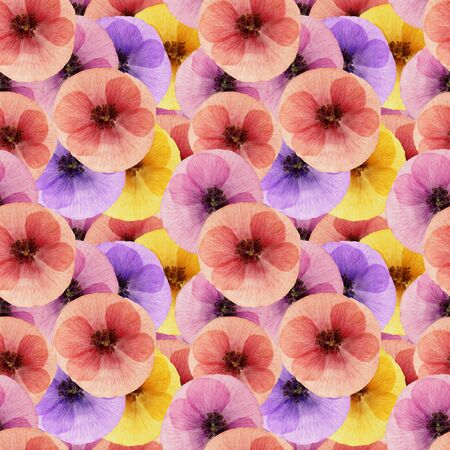 Poppy. Texture of flowers. Seamless pattern for continuous replicate. Floral background, photo collage for production of textile, cotton fabric. For use in wallpaper, covers Stock Photo