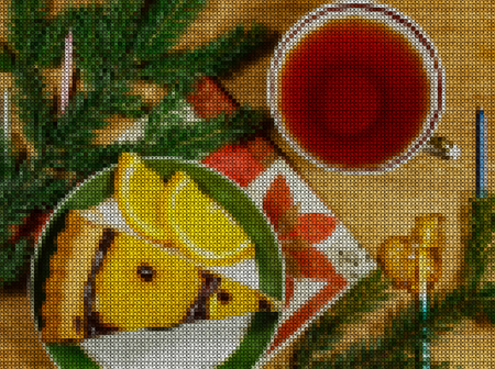 punto de cruz: Illustration. Cross stitch. New Year 2018. Slice cake with orange slices and chocolate syrup on the plate. Cup of tea. Composition on wooden background with fir branches and Christmas decorations. Foto de archivo