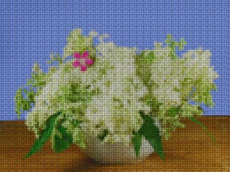 punto de cruz: Illustration. Cross stitch. Still life of bright wild flowers. Bouquet of meadow flowers in pots. Rustic style. Foto de archivo