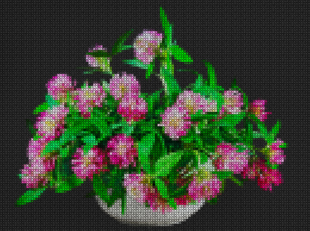 Illustration. Cross stitch. Still life of bright wild flowers. Bouquet of meadow flowers in pots. Rustic style. Stock Photo