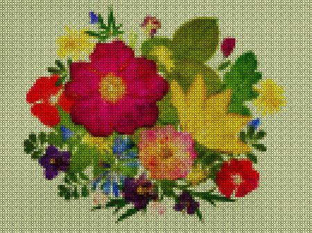 punto de cruz: Ilustraciones. Punto de cruz. Ramo, boutonniere de las flores salvajes. Scrapbooking.