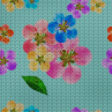 Illustration. Cross-stitch. Quince, apple quince. Texture of flowers. Seamless pattern for continuous replicate. Floral background, collage.