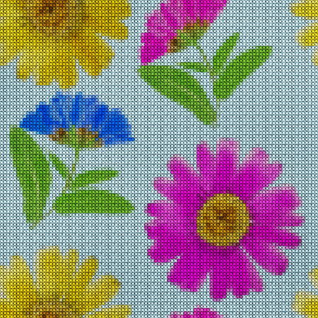 Illustration. Cross-stitch. Marigold, calendula officinalis. Texture of flowers. Seamless pattern for continuous replicate. Floral background, collage.