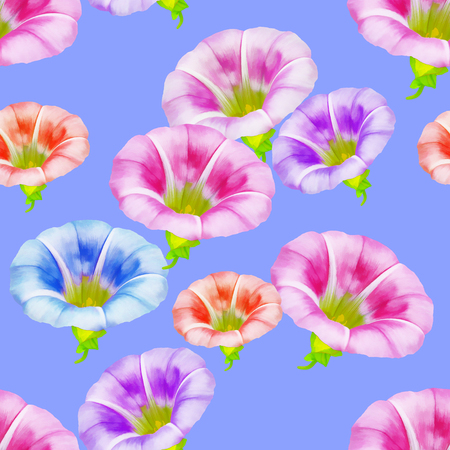 larger bindweed. Texture of flowers. Seamless pattern for continuous replicate. Floral background, photo collage for production of textile, cotton fabric. For use in wallpaper, covers Stock Photo