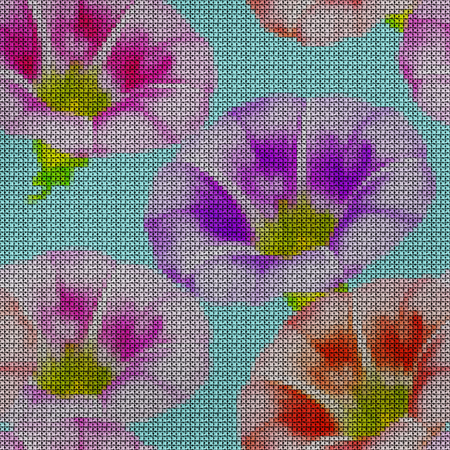 Illustration. Cross-stitch. larger bindweed. Texture of flowers. Seamless pattern for continuous replicate. Floral background, collage.