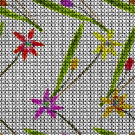 punto de cruz: Illustration. Cross-stitch. Bluebell, scilla, primroses. Texture of flowers. Seamless pattern for continuous replicate. Floral background, collage.