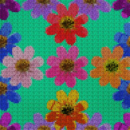 punto de cruz: Illustration. Cross-stitch. Cosmos. Texture of flowers. Seamless pattern for continuous replicate. Floral background, collage. Foto de archivo