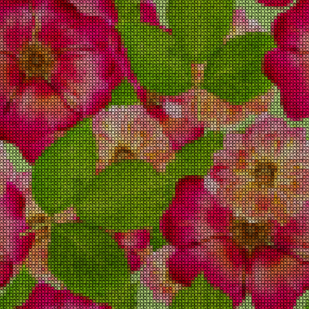 Illustration. Cross-stitch. Briar, wild rose, dog-roseBriar, wild rose, dog-rose. Texture of flowers. Seamless pattern for continuous replicate. Floral background, collage. Stockfoto