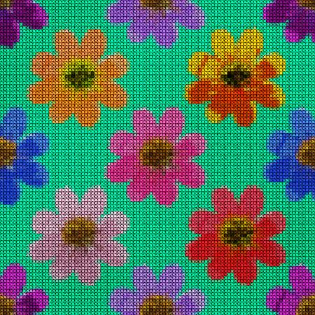punto de cruz: Ilustración. Punto de cruz. Cosmos. Textura de flores Patrón sin fisuras para la replicación continua. Fondo floral, collage.