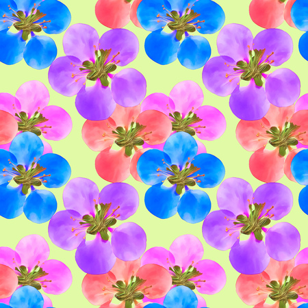 Quince, apple quince. Texture of flowers. Seamless pattern for continuous replicate. Floral background, photo collage for production of textile, cotton fabric. For use in wallpaper, covers