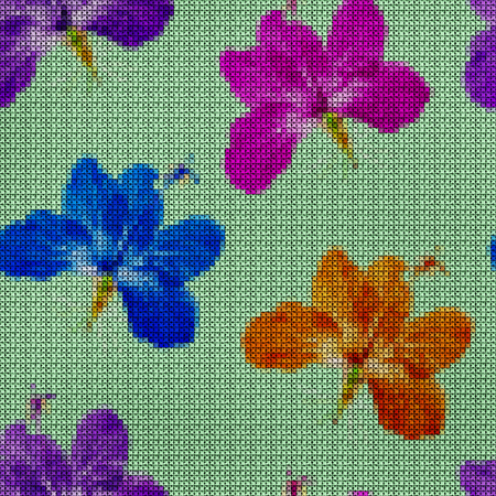 punto de cruz: Illustration. Cross-stitch. Hibiscus. Texture of flowers. Seamless pattern for continuous replicate. Floral background, collage.