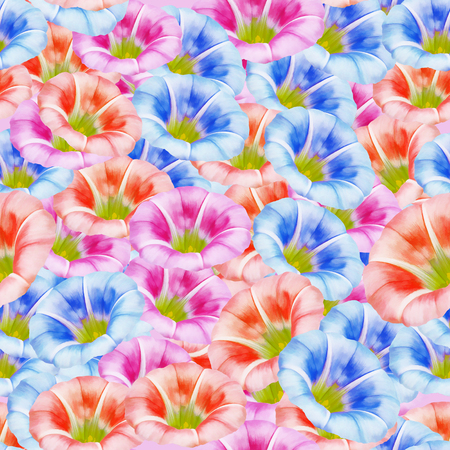 Calystegia sepium, larger bindweed. Texture of flowers. Seamless pattern for continuous replicate. Floral background, photo collage for production of textile, cotton fabric. For use in wallpaper, covers