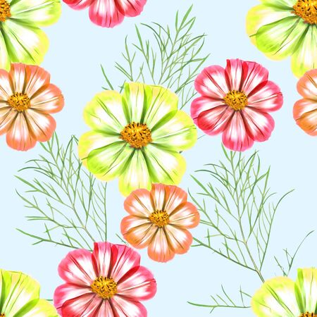 Cosmos. Texture of flowers. Seamless pattern for continuous replicate. Floral background, photo collage for production of textile, cotton fabric. For use in wallpaper, covers