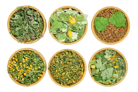 Set of healing herbs. Dry herbs for use in alternative medicine, phytotherapy, spa, herbal cosmetics. Preparing infusions, decoctions, tinctures. Used in powders, ointments, butter, tea, bath Stock Photo