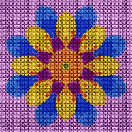 Illustration cross-stitch mandala from dried pressed flowers. Cross-stitch floral collage. Mandala - symbol of meditation, Buddhism, Hinduism, yoga. Geometric drawing made by plants in oriental style. Standard-Bild - 97802614
