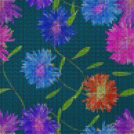Illustration. Cross-stitch. Aster, Michaelmas daisy. Texture of flowers. Seamless pattern for continuous replicate. Floral background, collage.