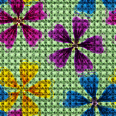 Illustration. Cross-stitch. Lavatera, mallow, malva. Texture of flowers. Seamless pattern for continuous replicate. Floral background, collage.