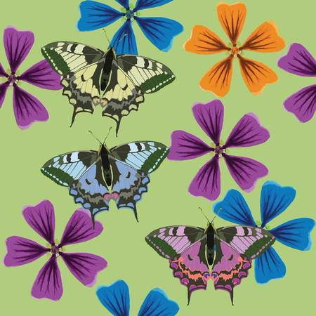 Lavatera, butterfly. Texture of flowers, butterfly. Seamless pattern for continuous replicate. Floral background, photo collage for production of textile, cotton fabric. For use in wallpaper, covers. Ilustracja
