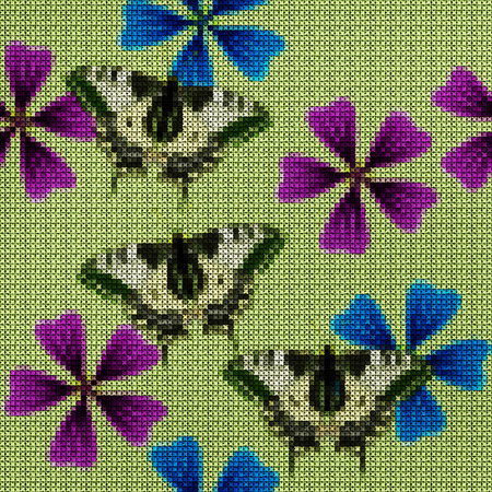 Illustration. Cross-stitch. Lavatera, mallow, malva, butterfly. Texture of flowers. Seamless pattern for continuous replicate. Floral background, collage.