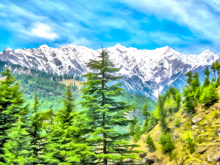 Digital painting. Drawing watercolor. Mountain landscape. Alpine landscape in early spring. Himalayas Tibet