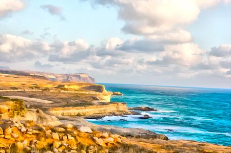Digitale Zeichnung. Aquarell zeichnen. Meerblick, Meer, Himmel. Felsige Küste.