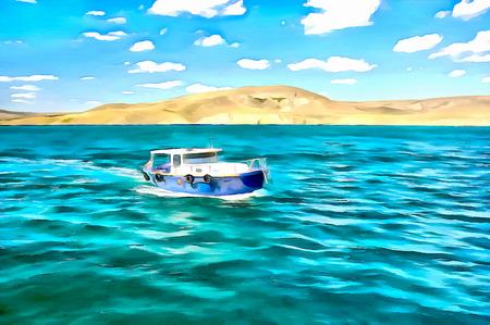 Digital painting. Drawing watercolor. Seascape, sea, ship. Pleasure boat sailing along the shore.
