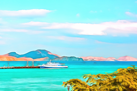 Digital painting. Drawing watercolor. Seascape, sea, pleasure ship. Yacht at the pier in the bay against the mountainous shore.