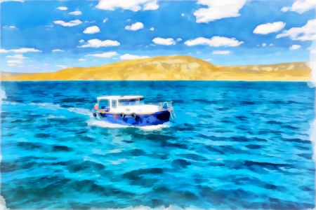 Digital painting. Drawing watercolor. Seascape, sea, ship. Pleasure boat sailing along the shore.
