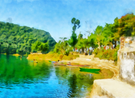 Watercolor mountain landscape. Digital painting - illustration. Watercolor drawing. Mountain landscape. Lovely view of wooden boats at the pier in Phewa Lake, Pokhara, Nepal.