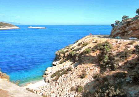 Digital painting. Drawing watercolor. Seascape, sea, sky. Rocky coastline. The serpentine road along coastal cliffs.