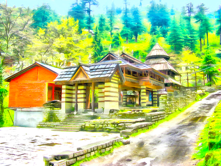 Watercolor mountain landscape. Himalayan Kullu Valley. Manali. India, State of Himachal Pradesh. Travel, tourism. Digital painting - illustration. Watercolor drawing.
