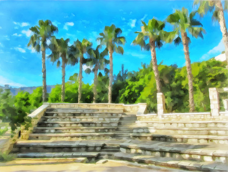 Watercolor cityscape. Amphitheater with stone tiers of seats against the backdrop of palm trees and blue sky. Digital painting - illustration. Watercolor drawing.