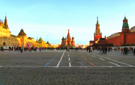 Watercolor cityscape. A wide view of the Red Square, the Kremlin, the Mausoleum, store GUM, St. Basils Cathedral. Russia. Moscow. Digital painting - illustration. Watercolor drawing.