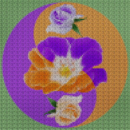 Illustration cross-stitch mandala from dried pressed flowers. Rose flower. Cross-stitch floral collage. Mandala - symbol of meditation, Buddhism, Hinduism, yoga. Geometric drawing made by plants in oriental style