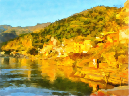 Watercolor drawing. Rishikesh, capital of yoga on the banks of great river Ganges in the foothills of Himalayas. Northern India, Uttarakhand State, Rishikesh. Digital painting - illustration.