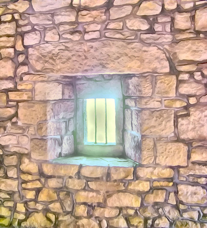 Window in the stone wall of the medieval fortress in San Marino. Travel, tourism. Digital painting - illustration. Watercolor drawing.