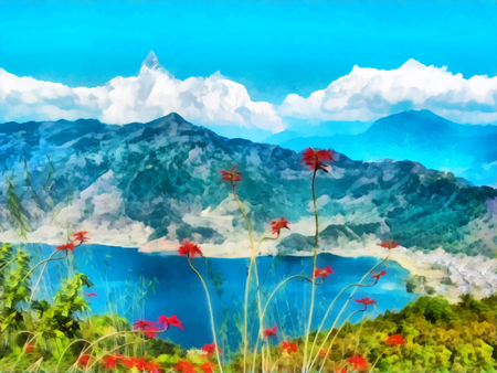 Digital painting. Watercolor drawing. Mountain landscape, Himalayas, Tibet. Watercolor landscape with views of Pokhara lake and Annapurna mountain. Stock Photo