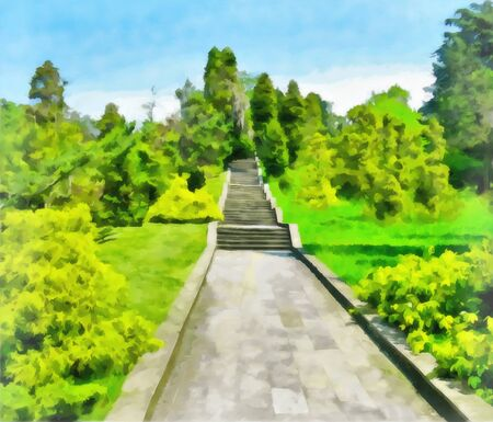 Watercolor summer park landscape. A large stone staircase in an old overgrown park. Digital painting, illustration. Watercolor drawing.