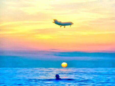 Digital painting. Drawing watercolor. Seascape sea. Evening dark sky, sunset, colorful path in waves of sunset, airplane silhouettes in the evening sky and swimmer in sea.  Travel, Tourism.