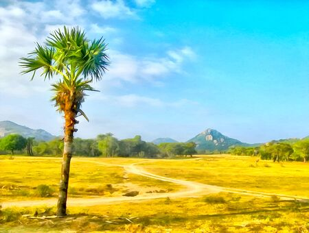 Watercolor mountain landscape. Digital painting - illustration. Beautiful palm tree. India, State of Tamil Nadu. Travel, tourism. Watercolor drawing. Reklamní fotografie