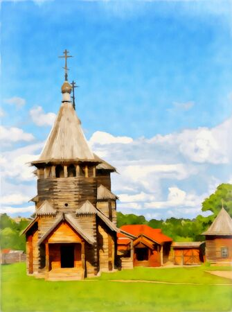 Abstract watercolor rural landscape. Ancient wooden Church. Digital painting - illustration. Watercolor drawing.