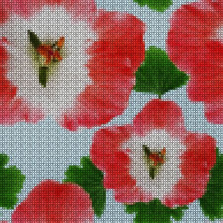 Illustration. Cross-stitch. Geranium, pelargonium. Texture of flowers. Seamless pattern for continuous replicate. Floral background, collage.